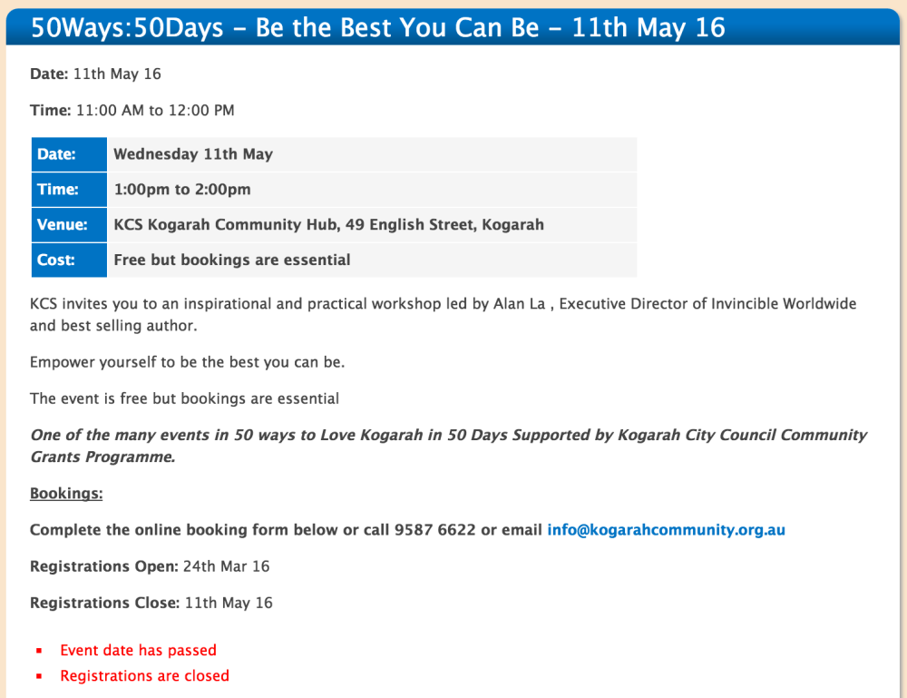 Screen Shot of Kogarah Community Centre Time Difference